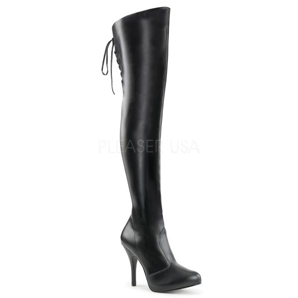 EVE-312 Eleganter Overknee Stiefel mit Stiletto-Absatz und eingearbeitetem Plateau schwarz Kunstleder